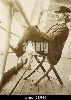 Samuel Langhorne Clemens (November 30, 1835 - April 21, 1910) better known by his pen name Mark Twain, was an American - Stock Photo