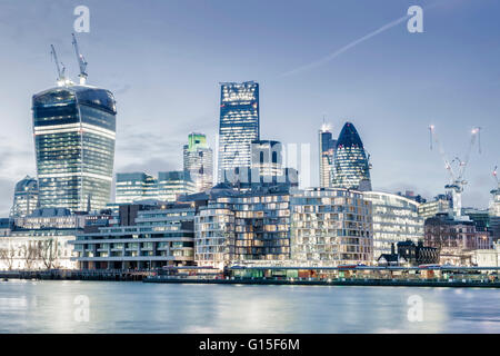 City of London skyline showing the Cheesegrater, the Gherkin, and the Walkie Talkie, London - Stock Photo