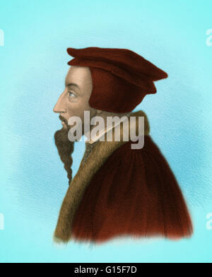 John Calvin (Jean Cauvin) (1509-1564) was an influential French theologian and pastor during the Protestant Reformation - Stock Photo