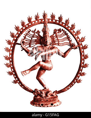 Shiva dancing in circle of flames. 11th cen. Bronze. Shiva is the third member of the Hindu Trimurti. He acts as - Stock Photo