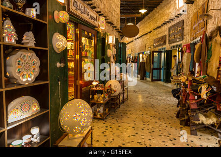 Entrance to Gold Souq, from alleyway of Souq Waqif, Doha, Qatar, Middle East - Stock Photo