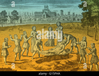 During the plague in London, burials of the dead took place outside of city walls. It was customary for such obsequies - Stock Photo