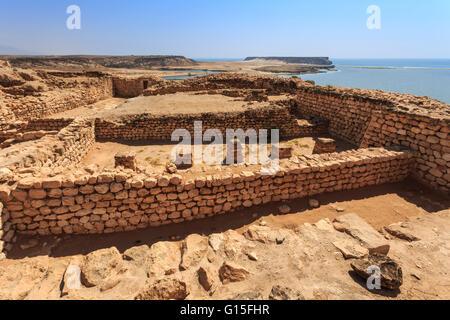 Sumhuram ruins overlooking Khor Rori (Rouri), Land of Frankincense UNESCO World Heritage Site, near Salalah, Dhofar - Stock Photo