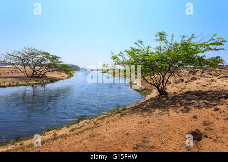 Tranquil waters of Khor Rori (Rouri), Land of Frankincense UNESCO World Heritage Site, near Salalah, Dhofar Region, - Stock Photo