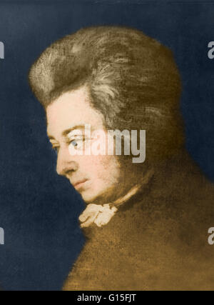 Wolfgang Amadeus Mozart; portrait by Joseph Lange, (1783). The original hangs in the Mozarteum. Wolfgang Amadeus - Stock Photo