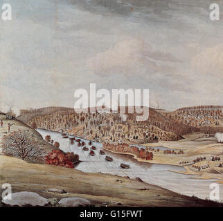 A view of the Attack against Fort Washington and Rebel Redoubts near New York by the British and Hessian Brigades. - Stock Photo