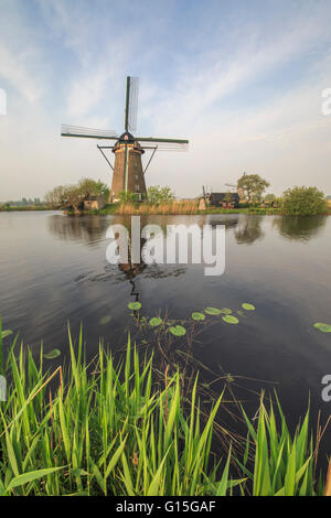 Green grass frames the windmills reflected in the canal, Kinderdijk, Rotterdam, South Holland, Netherlands, Europe - Stock Photo