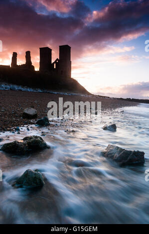 Sunset at Reculver Tower, Kent, England, United Kingdom, Europe - Stock Photo