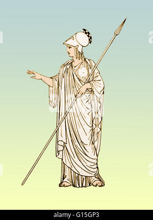 Minerva was the Roman goddess of wisdom and sponsor of arts, trade, and strategy. She was born from the godhead - Stock Photo