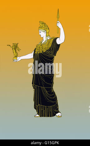 In Greek religion and mythology, Athena is the goddess of wisdom, courage, inspiration, civilization, law and justice, - Stock Photo