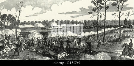 The caption reads: 'Repulsing the combined Confederate attack at the Peach Orchard, Shiloh, Tennessee, Sunday, April - Stock Photo