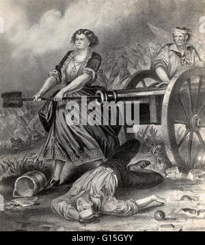 Currier & Ives print of Molly Pitcher at the Battle of Monmouth. The Battle of Monmouth was an American Revolutionary - Stock Photo