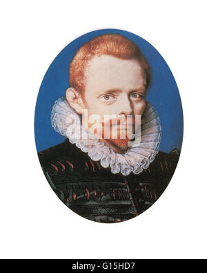 Portrait of Drake by Isaac Oliver. This is the only portrait of the circumnavigator to depict him with red hair. - Stock Photo