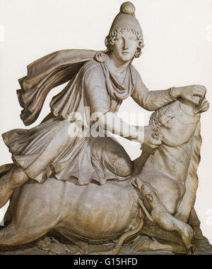 The god Mithras slaying the great bull. The spilling of the bull's blood was believed to bring about the rebirth - Stock Photo