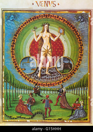 Astrology illustration of Venus, ruler of Libra and Taurus from the Fifteenth Century Lombard Manuscript De Sphaera. - Stock Photo