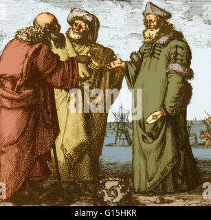 Aristotle, Ptolemy and Copernicus. Frontispiece etched by Sefano della Bella from Galileo Galilei's Dialogo...sopra - Stock Photo