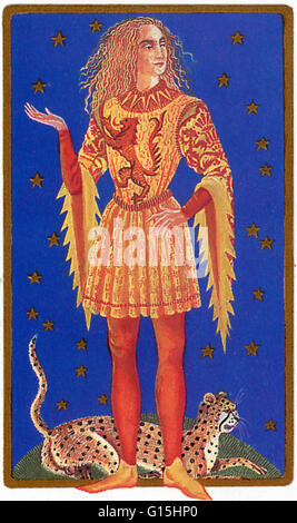 Tarot card of the astrological symbol for Leo. Leo symbolized by the Lion is 5th of the 12 star signs. Astrologers - Stock Photo