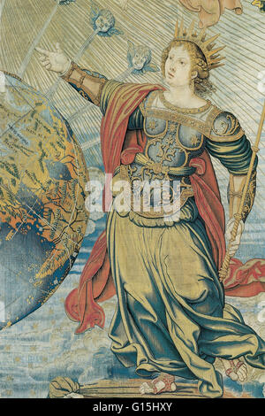 Juno, the warlike Roman goddess, as depicted in 'Earth under the Protection of Jupiter and Juno', c. 1520-30, a - Stock Photo