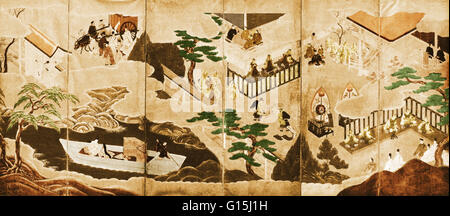 Scenes from the Tale of Genji painted on a six-panel folding screen.  Early 17th century, Tosa school, artist unknown. - Stock Photo