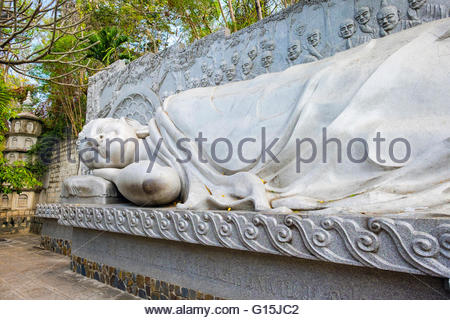 Reclining Buddha at Long Son Pagoda (Chua Long Son) Buddhist temple, Nha Trang, Khanh Hoa Province, Vietnam, Indochina - Stock Photo