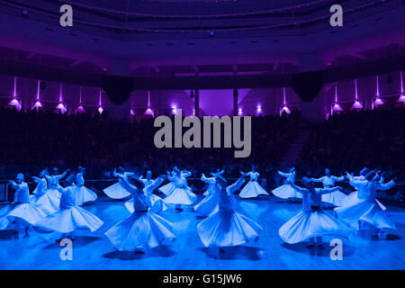 Whirling Dervishes at the Mevlana Culture Centre, Konya, Central Anatolia, Turkey, Asia Minor, Eurasia - Stock Photo