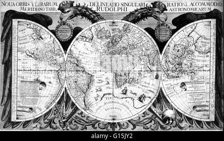 Map of the world from Kepler's Tabulae Rudolphinae, quibus astronomicae scientiae, temporum longinquitate collapsae - Stock Photo