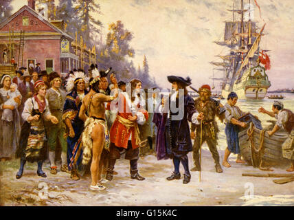 Print showing William Penn, in 1682, greeted by large group of men and women, including Native Americans. William - Stock Photo