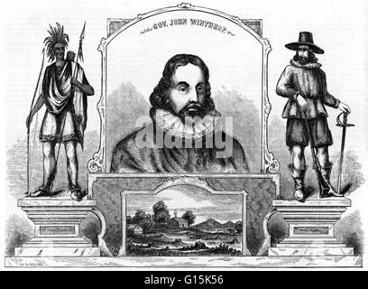 Engraving entitled: 'Gov. John Winthrop, In honor of the birthday of Governor John Winthrop, born June 12, 1587.' - Stock Photo
