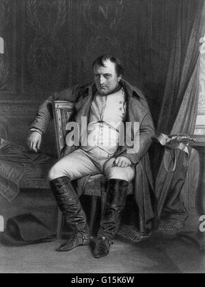 Engraving depicting Napoleon after his defeat at Fontainebleau, just prior to his exile to Elba. Napoleon Bonaparte - Stock Photo