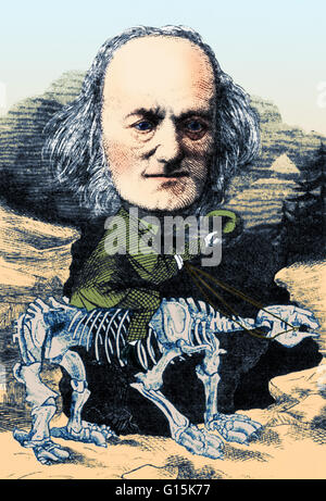 Captioned, 1872 cartoon, Richard Owen is mounted on a favorite hobbyhorse, the fossilized bones of a Megatherium. - Stock Photo