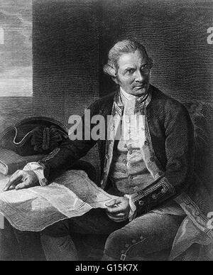 Captain James Cook (1728-1779) was an English explorer, navigator and cartographer who ultimately rose to the rank - Stock Photo