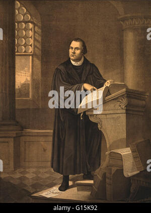 Martin Luther (1483-1546) was a German priest, professor of theology and a major figure of the Protestant Reformation. - Stock Photo