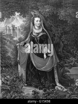 Mary, Queen of Scots (1542-1587) was queen regnant of Scotland from 1542 to 1567 and queen consort of France from - Stock Photo