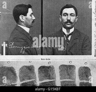 Mug shot and fingerprints of Vincenzo Peruggia (1881-1925), an Italian museum worker who stole the Mona Lisa from - Stock Photo