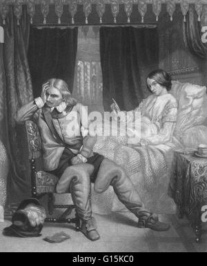 'Oliver Cromwell's last interview with his daughter,' an engraving from 1857 that imagines the death-bed scene and - Stock Photo