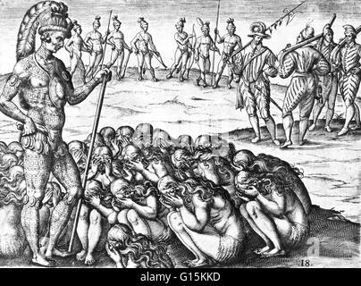 Grieiving widows approach chief, from 'Brevis narratio eorum quae in Florida Americai provincia Gallis acciderunt', - Stock Photo