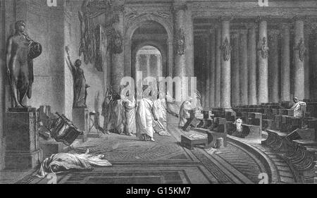 Gaius Julius Caesar (100-44 BC) was a Roman general and statesman. He played a critical role in the gradual transformation - Stock Photo