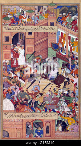This miniature depicts an attempt on the life of Akbar at Delhi in 1564. Akbar is shown in white on horseback clutching - Stock Photo