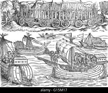 Woodcut from Historien vom Gallier und der Romer, published in Mainz in 1530 showing Julius Caesar sailing the Thames. - Stock Photo