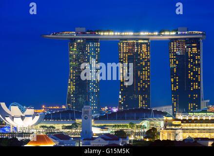 Clarke Quay and Marina Bay Sands Hotel and Casino, Singapore, Southeast Asia, Asia - Stock Photo