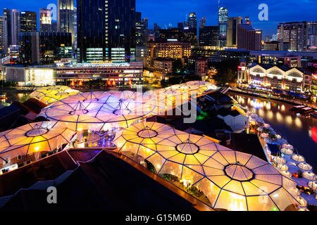 Clarke Quay, Singapore, Southeast Asia, Asia - Stock Photo