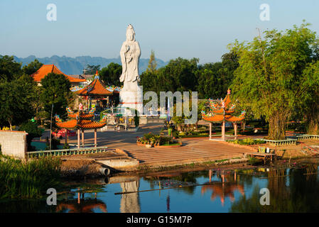 River Kwai and Kuang Im Chapel Buddhist temple, Kanchanaburi, Thailand, Southeast Asia, Asia - Stock Photo