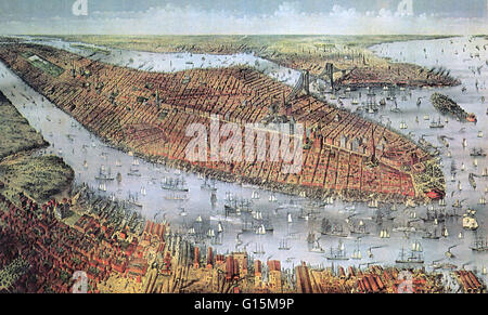 Lithograph entitled: 'New York and Brooklyn, 1884.' Bird's eye view Manhattan the most densely populated and the - Stock Photo