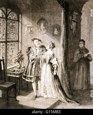 Etching entitled: Henry's reconciliation with Anne Boleyn. Anne Boleyn (1501 - May 19, 1536) was Queen of England - Stock Photo
