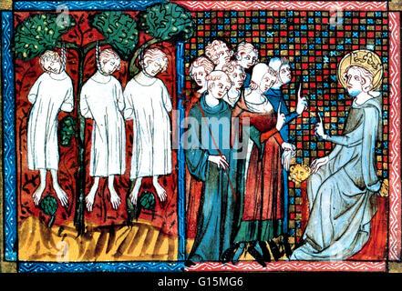 King Louis IX of France passes judgement when the Abbot of Saint Nicholas-au-Bois accuses a knight (Enguerrand De - Stock Photo