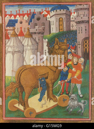The Trojan Horse from a late 15th century illustration of the poet John Lydgate's Troy Book. The Trojan Horse is - Stock Photo