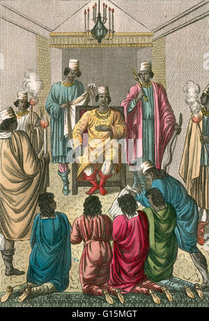 King of Kongo Receiving Dutch Ambassadors, 1642. The dynasty of the Kingdom of Kongo goes back to more than 500 - Stock Photo