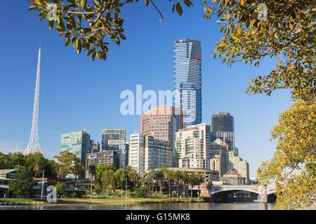 Eureka Tower and Victorian Arts Centre along Yarra River, Melbourne, Victoria, Australia, Pacific - Stock Photo