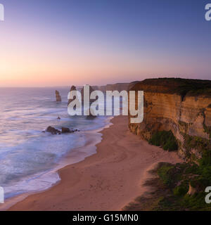 Twelve Apostles at sunset, Port Campbell National Park, Great Ocean Road, Victoria, Australia, Pacific - Stock Photo
