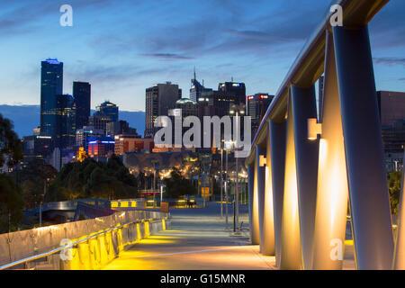 Skyline from William Barak Bridge at dusk, Melbourne, Victoria, Australia, Pacific - Stock Photo